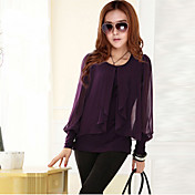 MYZX Women's Casual Knitting Chiffon Purple T-Shirt