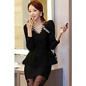 CHAOLIU Women's Black Korea Style V Neck Lace Dress
