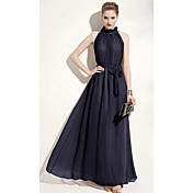 Yimo Women's Stand Collar Ultra Long Dress