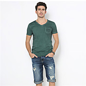 L&J Men's V Neck Vintage Basic Color T-shirt