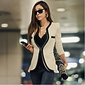 WeiMeiJia Women's Casual Slim Spell Color Suit Blazer(White)