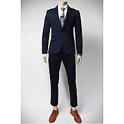 U2M2 Men's Profession Navy Blue Tailor Collar Buckle  Suit