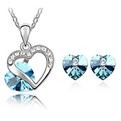 Xingzi Women's Elegant Blue Heart Pattern Made With Swarovski Elements Crystal Necklace And Stud Earrings