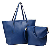 Hanghaiwang Women's Simple Navy Blue Trapezoid PU Leather Tote And Crossbody 04-23