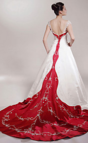 A-line Off-the-shoulder Chapel Train Satin Luxury Wedding Dress