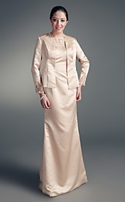 Sheath/ Column Floor-length Satin Tulle Mother of the Bride Dress With A Wrap