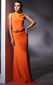 Chiffon Sheath/ Column Jewel Floor-length Evening Dress inspired by Christina Hendricks at Emmy Award