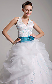 Ball Gown Halter Floor-length Satin Organza Wedding Dress