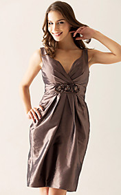 Sheath/ Column V-neck Knee-Length Taffeta Bridesmaid/ Wedding Party Dress With Beading
