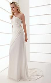 Sheath/Column One Shoulder Sweep/Brush Train Chiffon Wedding Dress