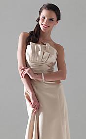 A-line Strapless Empire Floor-length Satin Bridesmaid Dress