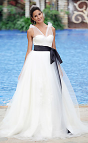 Ball Gown V-neck Floor-length Organza Satin Wedding Dress