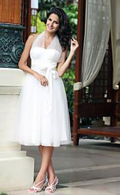 Empire Halter Knee-length Tulle Wedding Dress