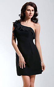 Sheath/ Column One Shoulder Short/ Mini Chiffon Cocktail/ Homecoming Dress