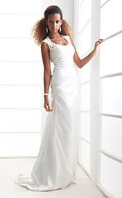 Sheath/Column Scoop Court Train Charmeuse Wedding Dress