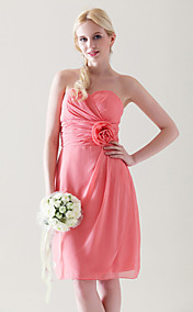 Clearance!Sheath/ Column Sweetheart Knee-length Chiffon Bridesmaid Dress