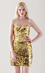 Sequined Sheath/ Column Strapless Short/ Mini Cocktail Dress inspired by Halle Berry