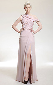 Sheath/ Column One Shoulder Floor-length Chiffon Evening Dress With Split Front