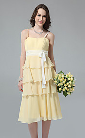 Sheath/Column Spaghetti Straps Tea-length Tiered Chiffon Bridesmaid Dress