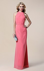Chiffon Sheath/ Column Halter Floor-length Evening Dress inspired by Claire Danes at Golden Globe Award