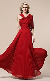 Sheath/ Column V-neck Floor-length Pleated Chiffon Evening Dress