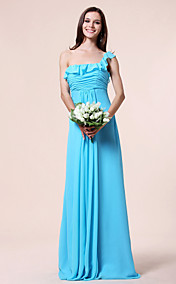 Sheath/ Column One Shoulder Empire Floor-length Chiffon Bridesmaid Dress