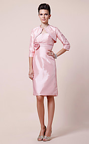 Sheath/Column Strapless Knee-length Beaded Taffeta Mother of the Bride Dress With A Wrap