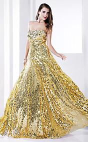 Sheath/Column  Strapless Floor-length Sequined Evening Dress