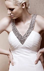 A-line V-neck Court Train Chiffon Wedding Dress