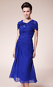 Sheath/ Column Sweetheart Tea-length Chiffon Mother of the Bride Dress With A Wrap