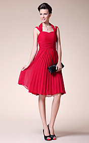 A-line Halter Knee-length Chiffon Mother of the Bride Dress