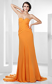 A-line Sweetheart Court Train Chiffon Evening Dress inspired by Lea Michele