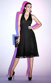 Sheath/Column Halter Knee-length Chiffon Cocktail Dress