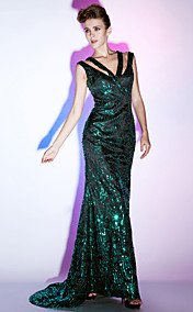 Sequined Sheath/Column V-neck Floor-length Evening Dress inspired by Scarlett Johansson