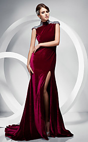 Trumpet/ Mermaid High Neck Sweep/ Brush Train Velvet Evening Dress