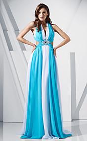 Sheath/ Column V-neck Sweep/ Brush Train Chiffon Evening Dress