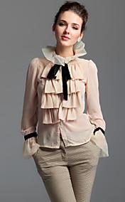 TS Lapel Ruffle Front Blouse Shirt