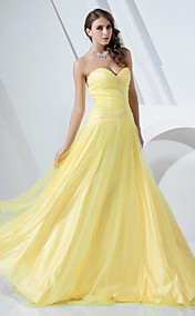A-line Strapless Floor-length Tulle And Satin Evening Dress