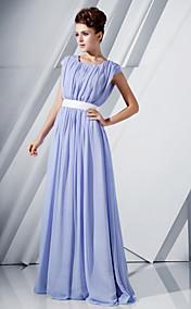 A-line Scoop Floor-length Chiffon Evening Dress