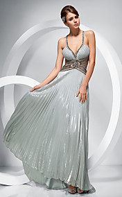 A-line V-neck Floor-length Chiffon Evening Dress