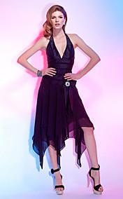 A-line Halter Asymmetrical Chiffon Over Taffeta Cocktail Dress