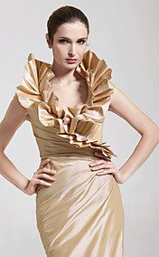 Trumpet/Mermaid V-neck Floor-length Taffeta Evening Dress
