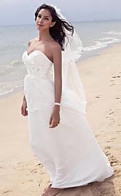 Sheath/Column Strpaless Floor-length Chiffon Wedding Dress