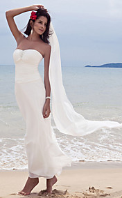 Sheath/ Column Sweetheart Ankle-length Chiffon Wedding Dress With A Wrap