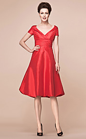 A-line V-neck Knee-length Taffeta Mother Of The Bride Dress