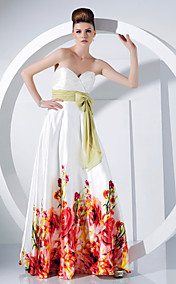 A-line Sweetheart Floor-length Charmeuse And Chiffon Evening Dress