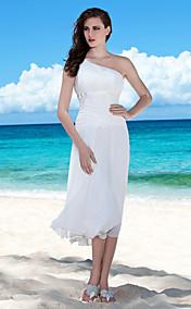 Sheath/ Column One Shoulder Tea-length Chiffon Wedding Dress