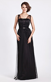 Sheath/Column Floor-length Tulle And Satin Bridesmaid Dress With Straps