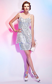 Sheath/Column Spaghetti Strap Short/Mini Cocktail Dress In Sequins Over Stretch Satin
