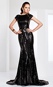 Sequined Bateau Neck Sweep/Brush Train Evening Dress Inspired By Evan Rachel Wood At The Emmys